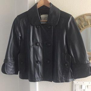 Black leather swing coat by BB Dakota size small